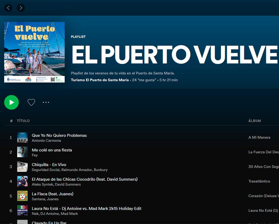 Lista de Spotify El Puerto Vuelve