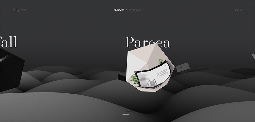 Ejemplo de 3D en tendencias de diseño web.